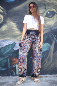 Abstract mandala 132 women harem pants in Black PP0004 020132 03