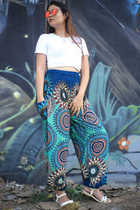 Abstract mandala 132 women harem pants in Bright Navy PP0004 020132 01