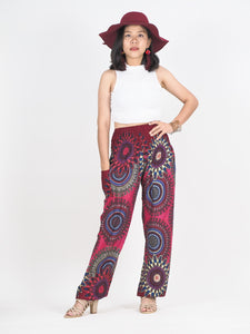 Abstract mandala 132 women harem pants in Red PP0004 020132 06