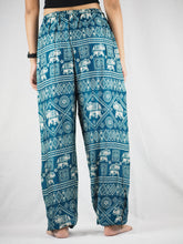 Load image into Gallery viewer, African Elephant Unisex Drawstring Genie Pants in Green PP0110 020004 05
