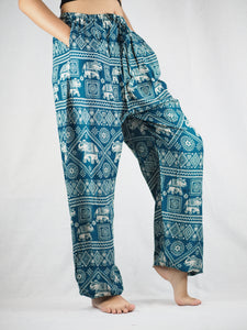 African Elephant Unisex Drawstring Genie Pants in Green PP0110 020004 05