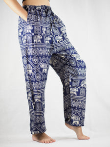 African Elephant Unisex Drawstring Genie Pants in Navy Blue PP0110 020004 04
