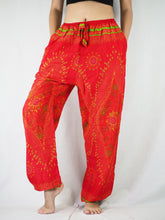 Load image into Gallery viewer, Big eye Unisex Drawstring Genie Pants in Red PP0110 020065 06