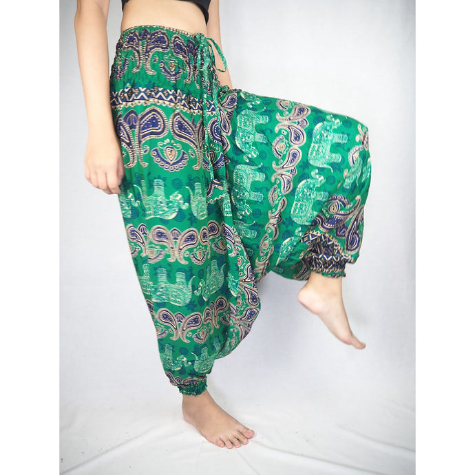 Cartoon elephant  Unisex Aladdin drop crotch pants in Green PP0056 020052 04