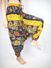 Load image into Gallery viewer, Cartoon Elephant Unisex Aladdin Drop Crotch Pants in Navy PP0056 020061 01