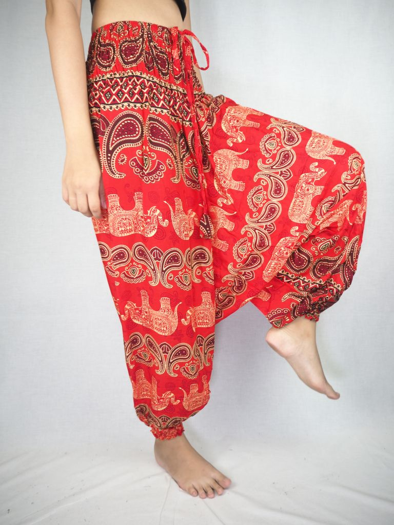 Cartoon elephant  Unisex Aladdin drop crotch pants in Red PP0056 020052 05