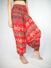 Load image into Gallery viewer, Cartoon elephant  Unisex Aladdin drop crotch pants in Red PP0056 020052 05