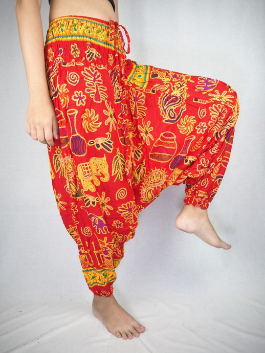 Cartoon Elephant Unisex Aladdin Drop Crotch Pants in Red PP0056 020061 03