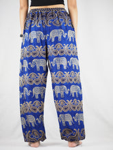 Load image into Gallery viewer, Cartoon elephant Unisex Drawstring Genie Pants in Navy PP0110 020052 06