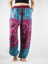 Load image into Gallery viewer, Clock nut Unisex Drawstring Genie Pants in Red PP0110 020067 06