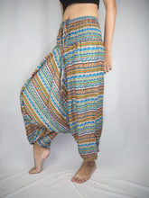Load image into Gallery viewer, Colorful Stripes Unisex Aladdin drop crotch pants in Yellow PP0056 020006 07