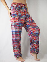 Load image into Gallery viewer, Colorful Stripes Unisex Drawstring Genie Pants in Red PP0110 020006 01
