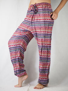 Colorful Stripes Unisex Drawstring Genie Pants in Red PP0110 020006 01