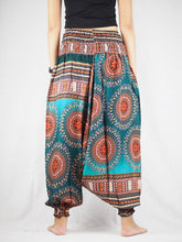 Load image into Gallery viewer, Colorful sunflower Unisex Aladdin drop crotch pants in green PP0056 020095 05