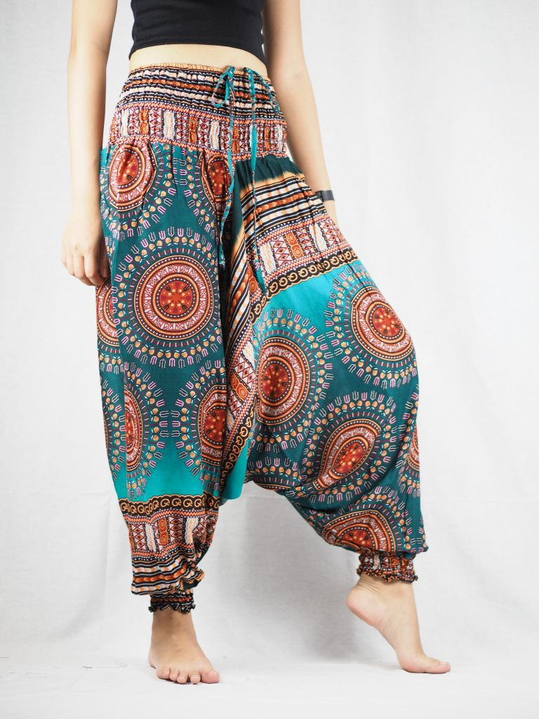 Colorful sunflower Unisex Aladdin drop crotch pants in green PP0056 020095 05