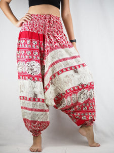 Cute elephant  Unisex Aladdin drop crotch pants in Red PP0056 020011 05