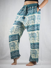 Load image into Gallery viewer, Cute elephant Unisex Drawstring Genie Pants in Blue PP0110 020027 02