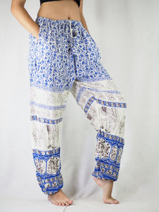 Cute elephant Unisex Drawstring Genie Pants in Bright Navy PP0110 020011 01
