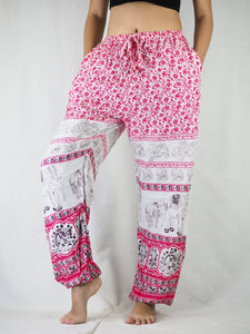 Cute elephant Unisex Drawstring Genie Pants in Pink PP0110 020012 01