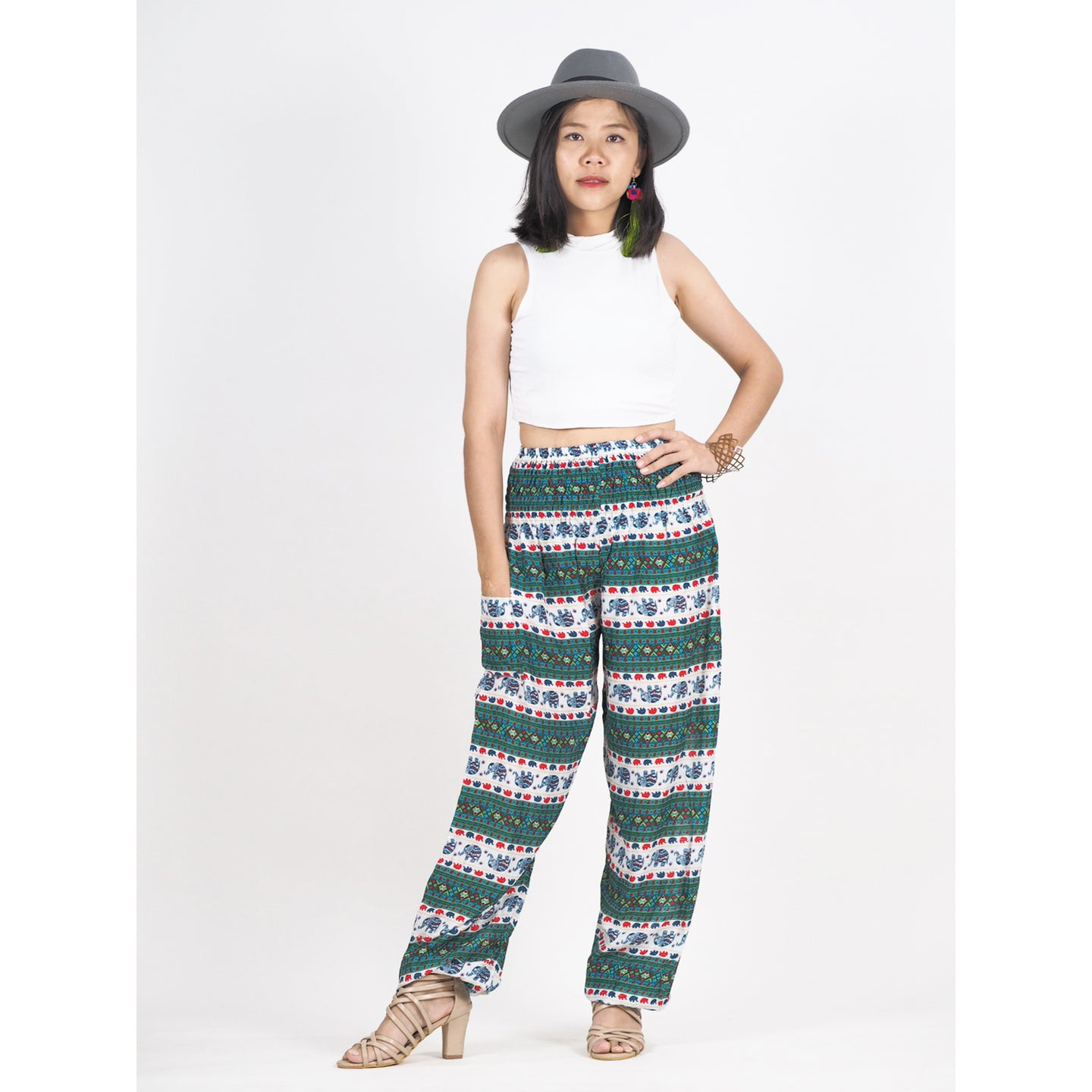Cute elephant stripes 142 women harem pants in Green PP0004 020142 03