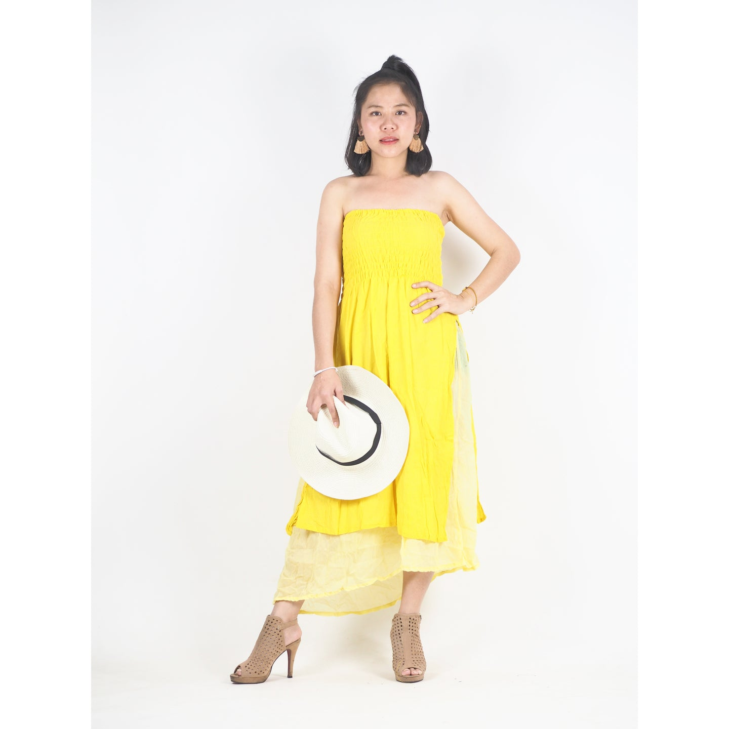 Solid Color Women's Dresses in Yellow DR0439 060000 23