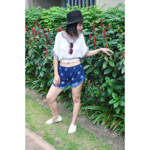 Rose Bushes Women's Pompom Shorts Pants in Navy blue PP0228 020118 03