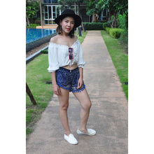 Load image into Gallery viewer, Mandala Women's Pompom Shorts Pants in Navy blue PP0228 020134 05