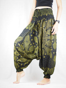 Dark Dream Catcher Unisex Aladdin Drop Crotch Pants in Green PP0056 020083 02