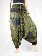 Load image into Gallery viewer, Dark Dream Catcher Unisex Aladdin Drop Crotch Pants in Green PP0056 020083 02