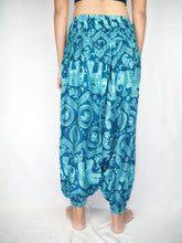 Load image into Gallery viewer, Elephant Circles  Unisex Aladdin drop crotch pants in Ocean Blue PP0056 020051 02