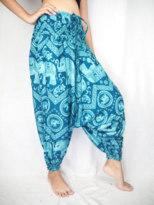 Elephant Circles  Unisex Aladdin drop crotch pants in Ocean Blue PP0056 020051 02