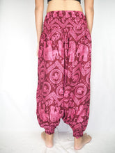 Load image into Gallery viewer, Elephant Circles  Unisex Aladdin drop crotch pants in Pink PP0056 020051 05