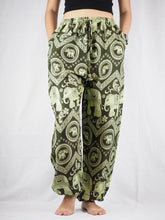 Load image into Gallery viewer, Elephant Circles Unisex Drawstring Genie Pants in Green PP0110 020051 04