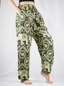 Elephant Circles Unisex Drawstring Genie Pants in Green PP0110 020051 04