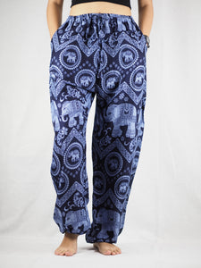 Elephant Circles Unisex Drawstring Genie Pants in Navy PP0110 020051 06