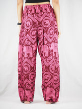 Load image into Gallery viewer, Elephant Circles Unisex Drawstring Genie Pants in Pink PP0110 020051 05