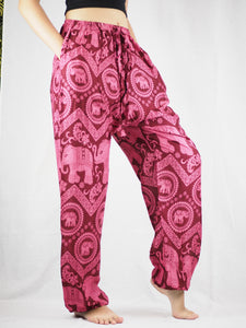 Elephant Circles Unisex Drawstring Genie Pants in Pink PP0110 020051 05