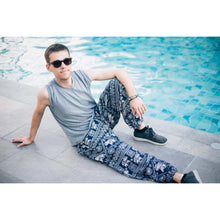 Load image into Gallery viewer, African Elephant 4 men/women harem pants in Navy blue PP0004 020004 04