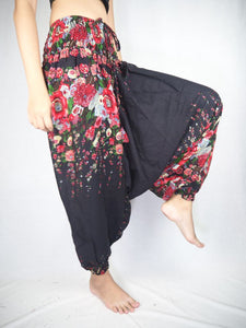 Floral Royal Unisex Aladdin drop crotch pants in Black PP0056 020010 01