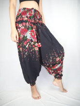 Load image into Gallery viewer, Floral Royal Unisex Aladdin drop crotch pants in Black PP0056 020010 01