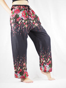 Floral Royal Unisex Drawstring Genie Pants in Black PP0110 020010 01