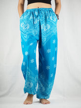 Load image into Gallery viewer, Flower drops Unisex Drawstring Genie Pants in Blue PP0110 020070 03