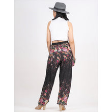 Load image into Gallery viewer, Flowers 100 women harem pants in Black PP0004 020100 04