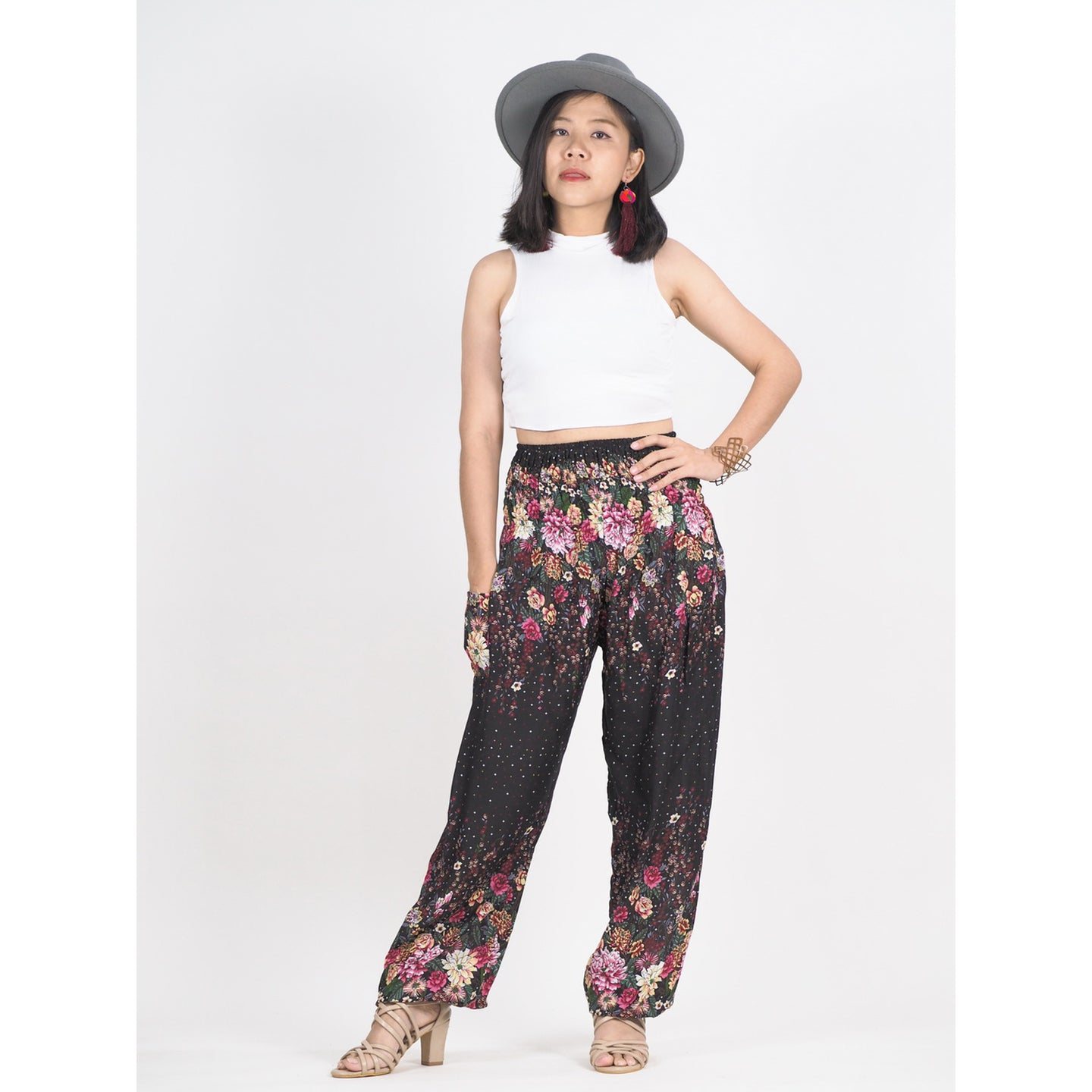 Flowers 100 women harem pants in Black PP0004 020100 04
