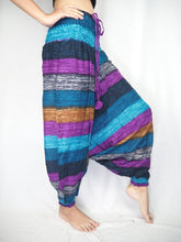 Load image into Gallery viewer, Funny Stripe Unisex Aladdin drop crotch pants in Ocean Blue PP0056 020021 02