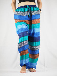 Funny Stripe Unisex Drawstring Genie Pants in Blue PP0110 020021 06