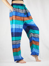 Load image into Gallery viewer, Funny Stripe Unisex Drawstring Genie Pants in Blue PP0110 020021 06