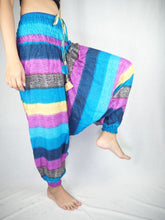 Load image into Gallery viewer, Funny Stripes Unisex Aladdin drop crotch pants in Blue PP0056 020063 01