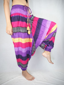 Funny Stripes Unisex Aladdin drop crotch pants in Purple PP0056 020063 06