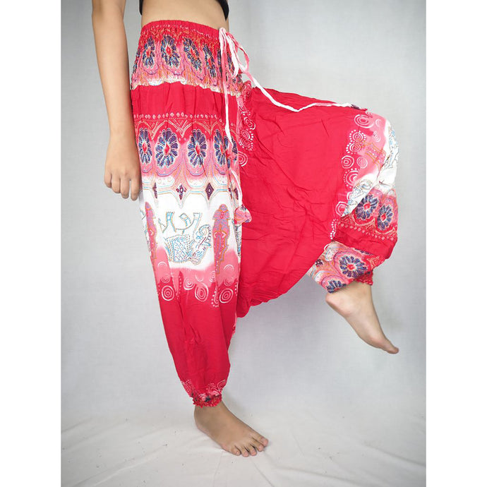 Solid Top Elephant Unisex Aladdin drop crotch pants in Red PP0056 020017 05